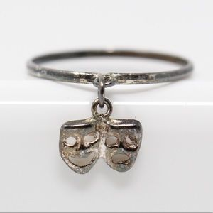 VINTAGE Sterling Comedy & Tragedy Mask CHARM Ring